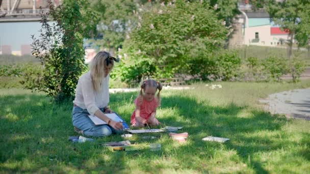 Drawing Lesson of Little Girl in the Park