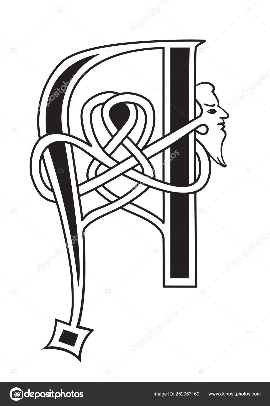Decorative Letter A.Decorative Capital Medieval Illuminated Letter Initial