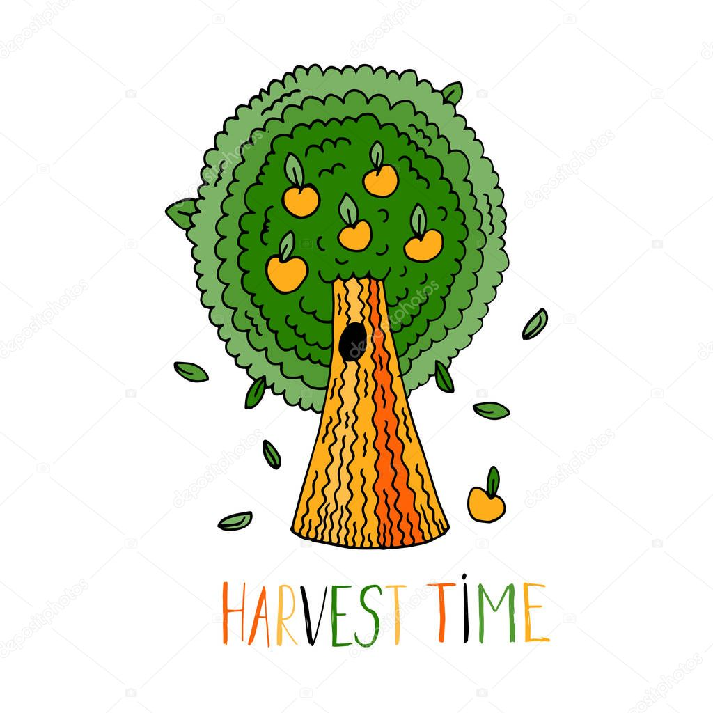 Hand Drawn Apple Tree Harvest Time Apple Tree Logo Organic Farming Production Of Natural Products 1 Premium Vector In Adobe Illustrator Ai Ai Format Encapsulated Postscript Eps Eps Format