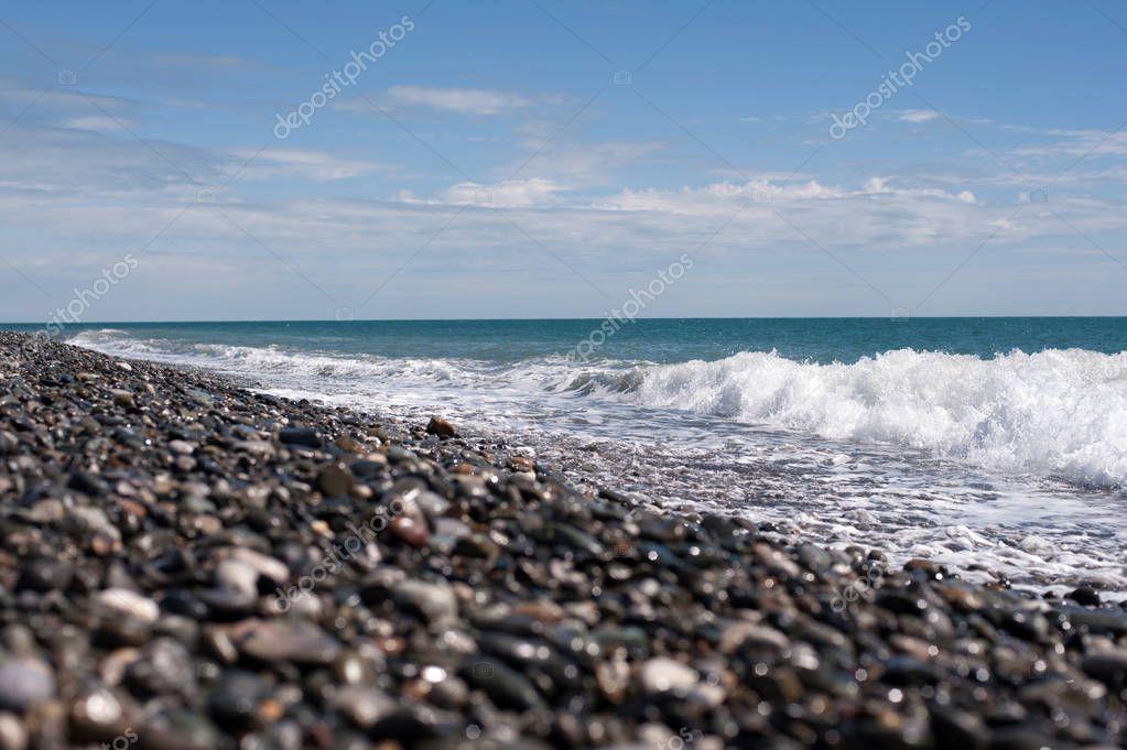 Seashore with blue sky