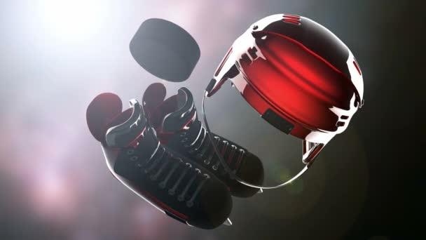 hokejový puk a hokejové zařízení