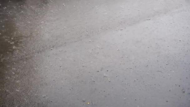 Starkregen auf Asphaltspritzern
