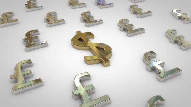 3D animovaná stříbrná Libra symbolů s jedním zlatým symbolem USD