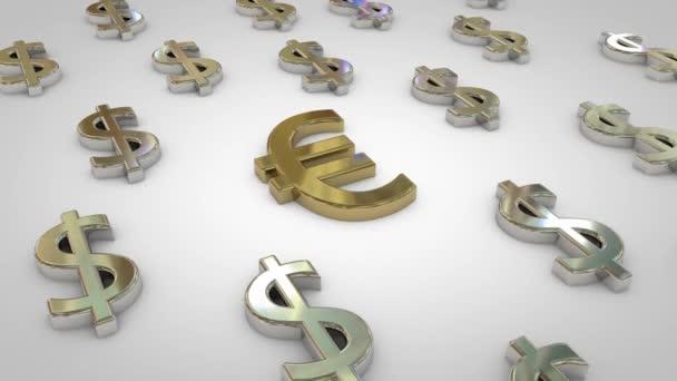 3D animace stříbrných symbolů v USD s jedním zlatým symbolem měny euro