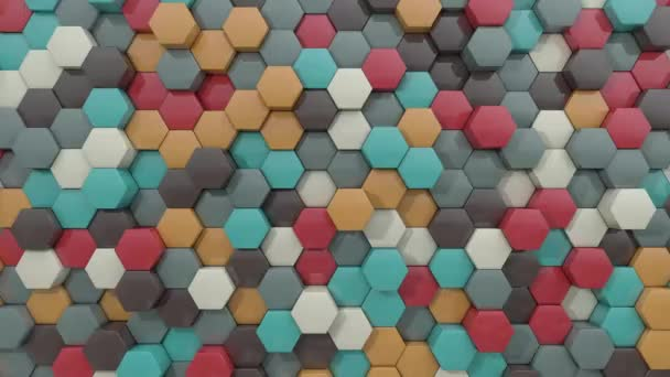 3d animated hexagon pleasing color combination  background loop