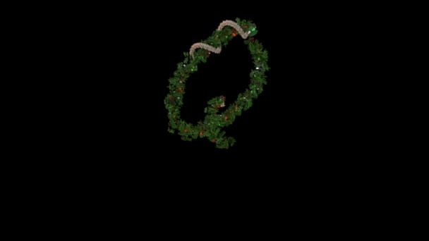 animated Holiday text typography formed out of Christmas wreath and blinking lights Q