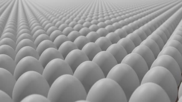 Eierproduktion. Eier bewegen sich in Schleife.