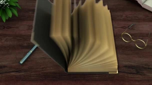 Starověká prázdná kniha s obracením stránek