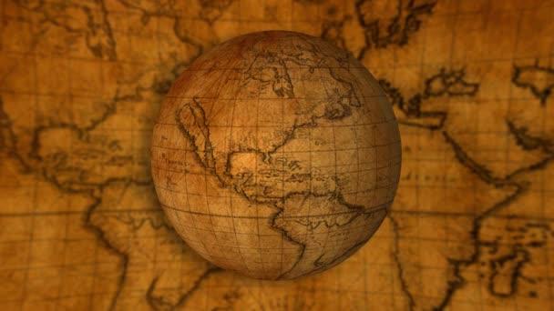 stará světová zeměkoule se točí na mapě pozadí 4k