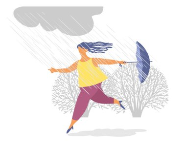 Mutlu bir kız parkta yağmurda şemsiyeyle koşar. Bir kız su birikintilerinden atlıyor. Yağmurda yürüyorum. Düz biçim.