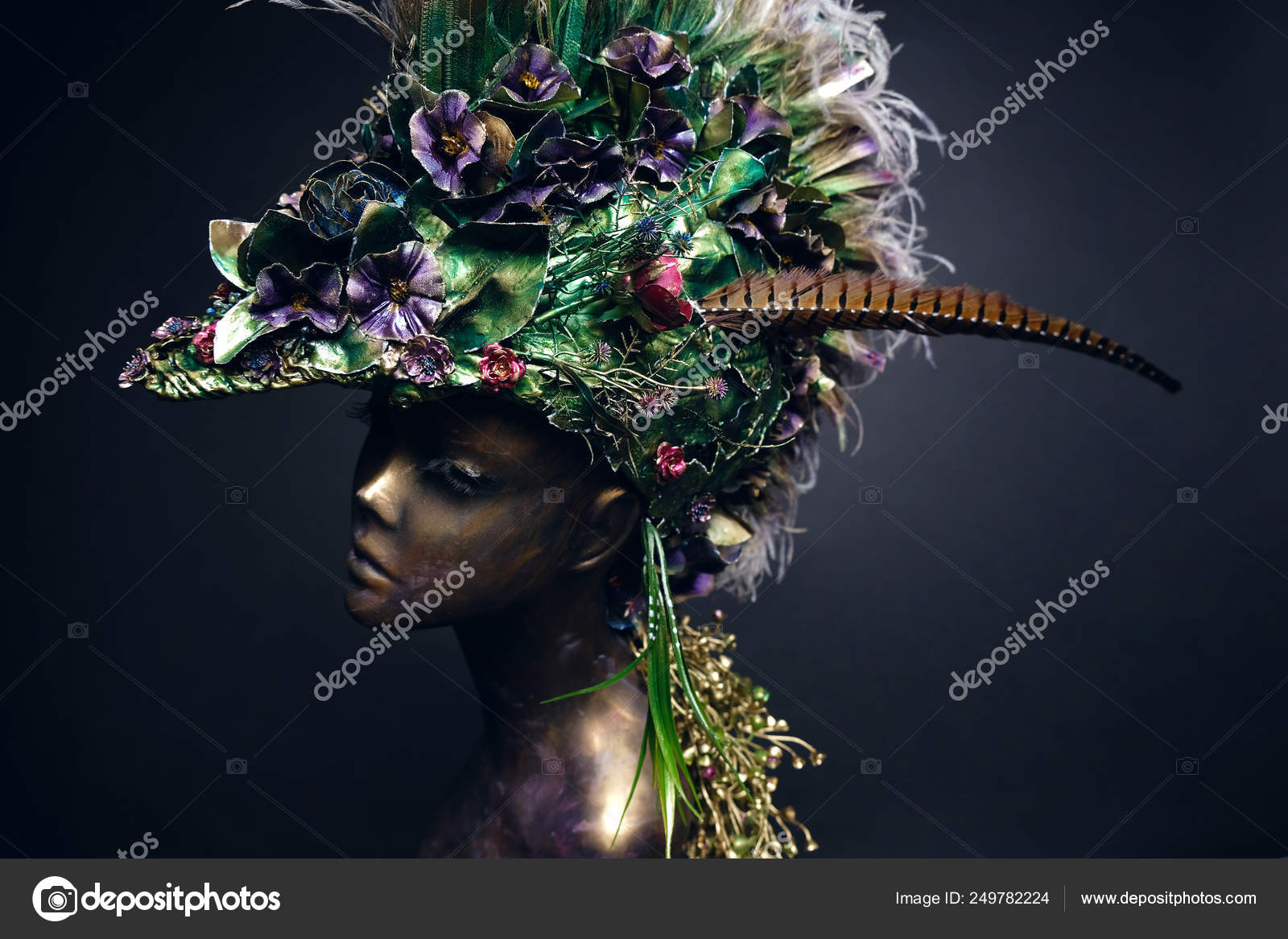 Studio shot of woman mannequin in creative headdress with flowers and leaves, dark studio background