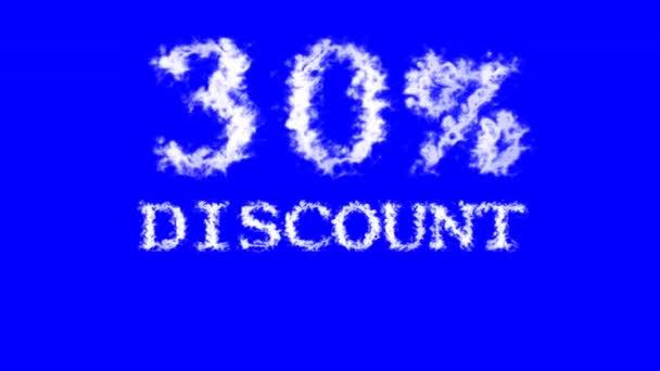 30% sleva cloud text efekt modré izolované pozadí. animovaný textový efekt s vysokým vizuálním dopadem. efekt dopisu a textu.