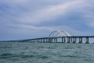 Crimean bridge over the sea of Azov view from the boat summer