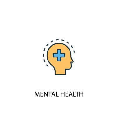 Mental health concept 2 colored line icon. Simple yellow and blue element illustration. Mental health concept outline symbol