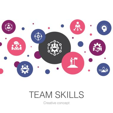 team skills trendy circle template with simple icons. Contains such elements as Collaboration, cooperation, teamwork