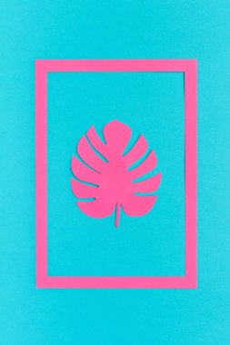 Trendy tropical pink leaf monstera of paper in frame on blue background. Creative Flat lay Top view Greeting card or poster Minimal style