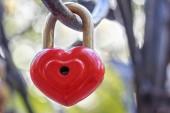 Červený zámek v podobě srdce visí na železném zábradlí.