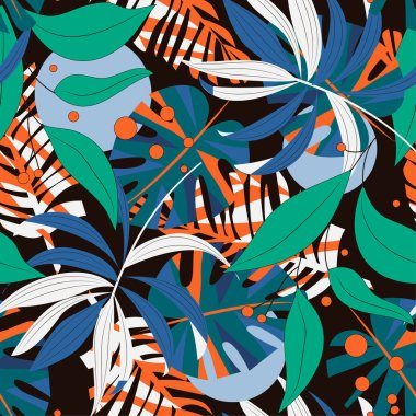 Abstract seamless pattern with colorful tropical leaves and plants. Vector design. Jungle print. Flowers background. Printing and textiles. Exotic tropics. Fresh design.