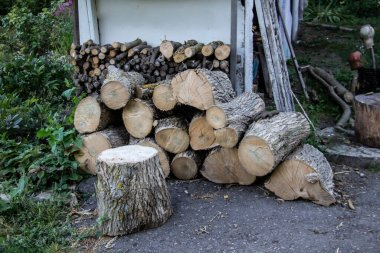 Harvesting firewood for the winter outside house. In the village prepare bars of firewood in a heap.