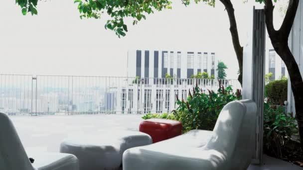 Veranda or terrace with working space on the top floor