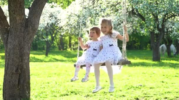 Dvě roztomilé dívky se houpou na dřevěné houpačce v krásném jarním časovém parku
