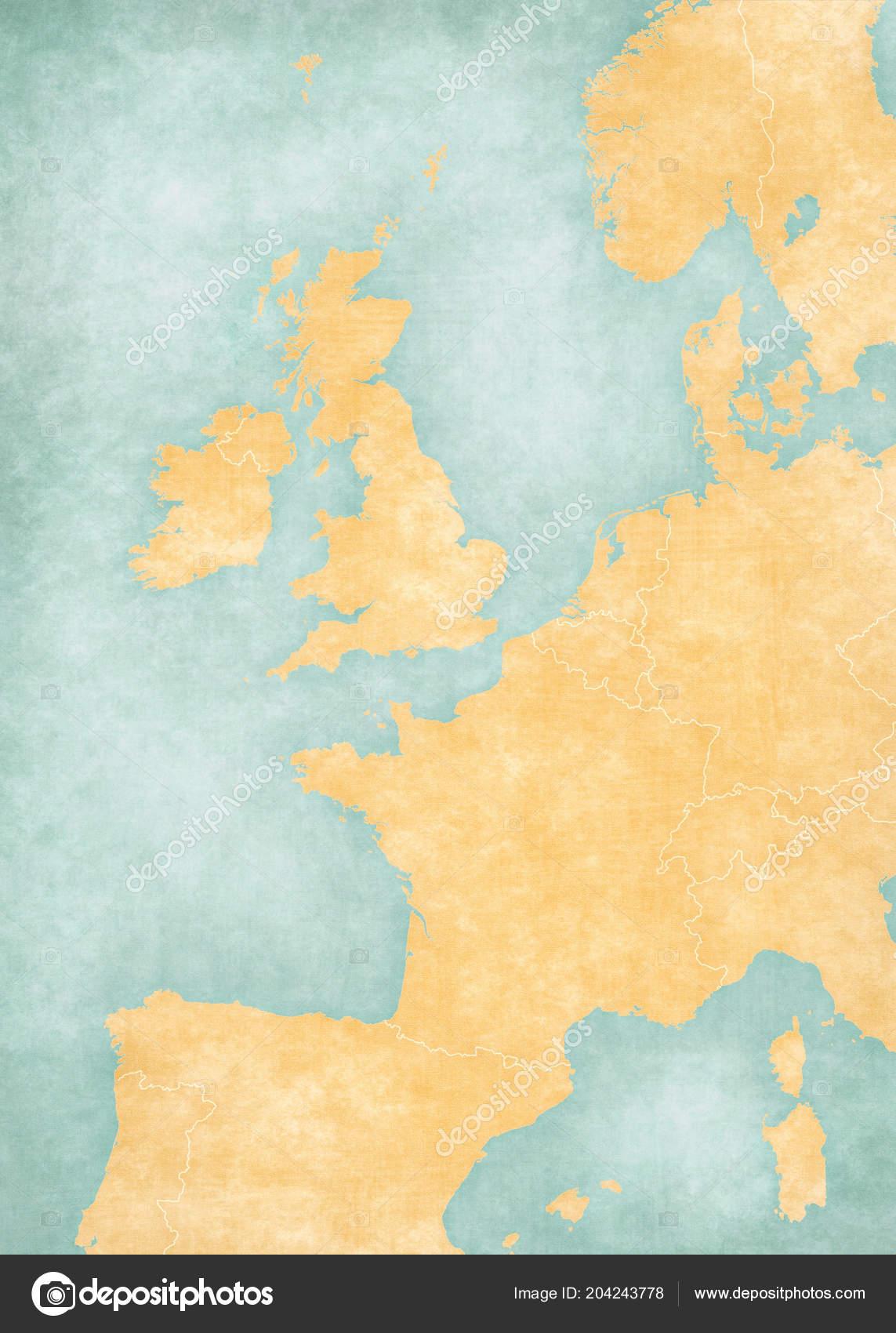 Image of: Blank Map Western Europe Country Borders Soft Grunge Vintage Style Stock Photo C Tindo 204243778