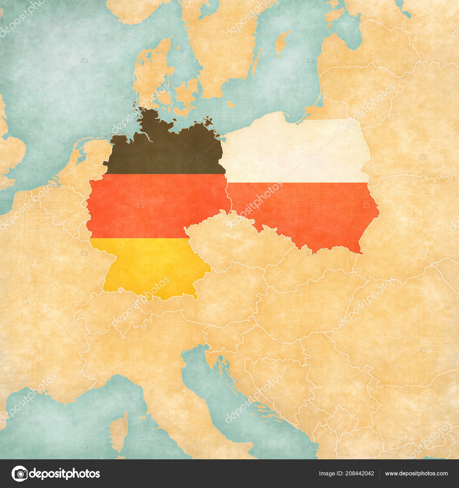 Germany Poland Flags Map Central Europe Soft Grunge Vintage ...