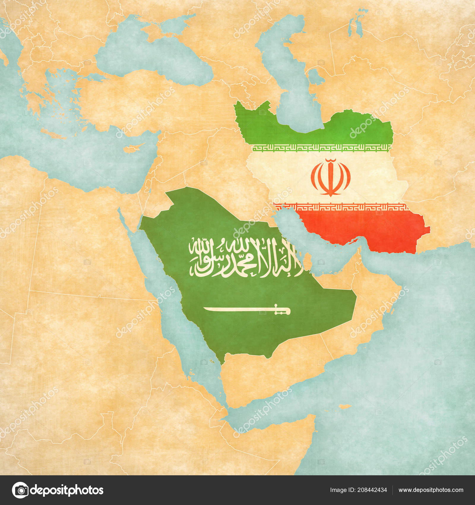 Saudi Arabia Iran Flags Map Middle East Western Asia Soft ...