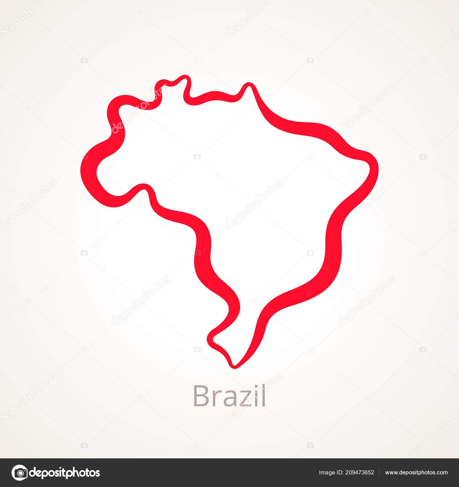 Carte Muette Bresil.Carte Muette Bresil Marque Avec Ligne Rouge Image Vectorielle