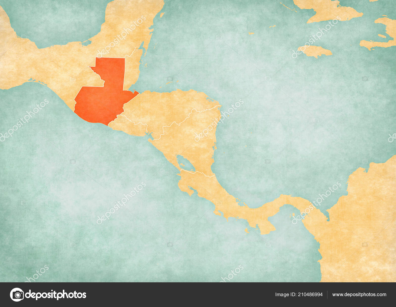 Guatemala Map Central America Soft Grunge Vintage Style Old ...