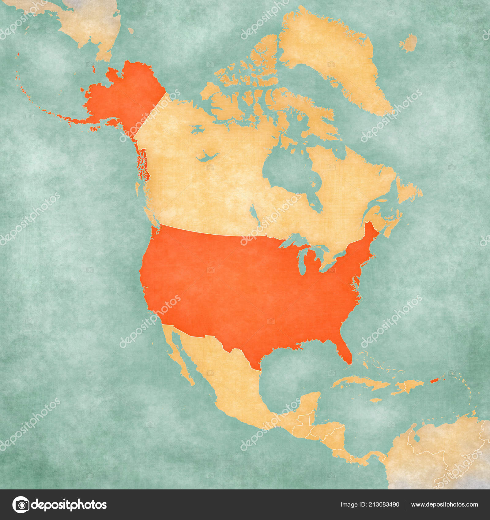 United States Map North America Soft Grunge Vintage Style ...