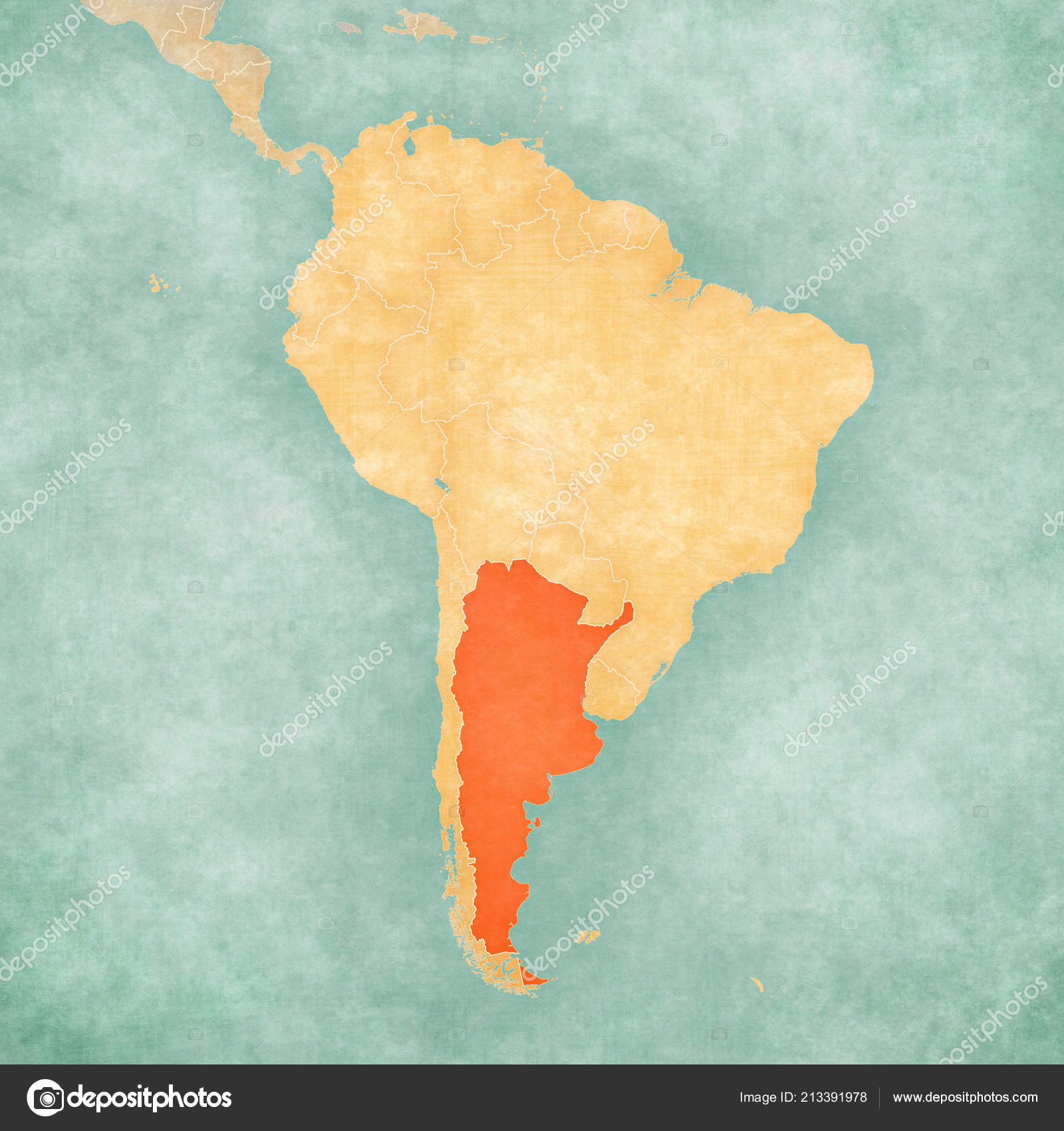 Argentina Map South America Soft Grunge Vintage Style Old Paper ...