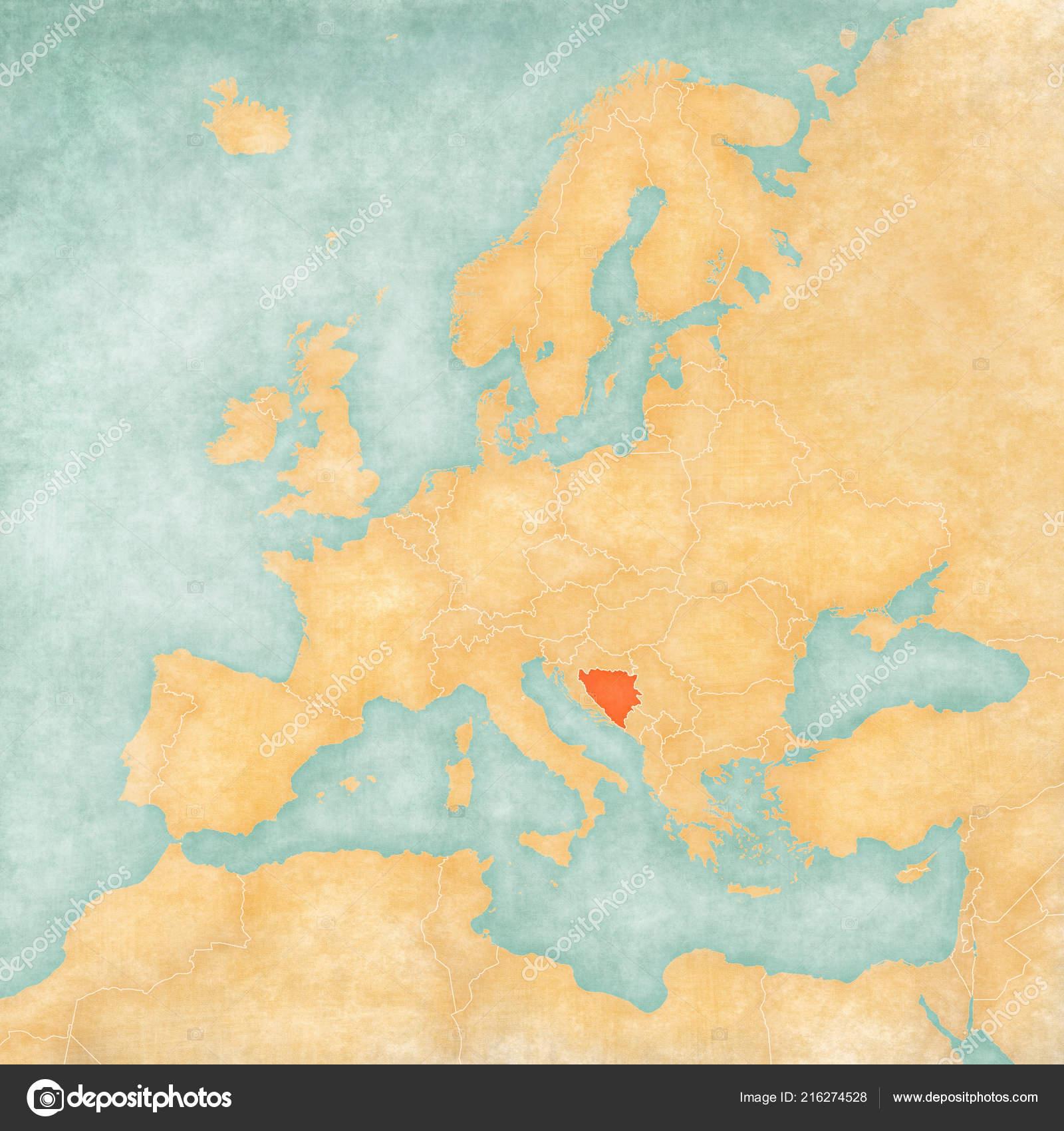 Image of: Bosnia Herzegovina Map Europe Soft Grunge Vintage Style Old Paper Stock Photo C Tindo 216274528
