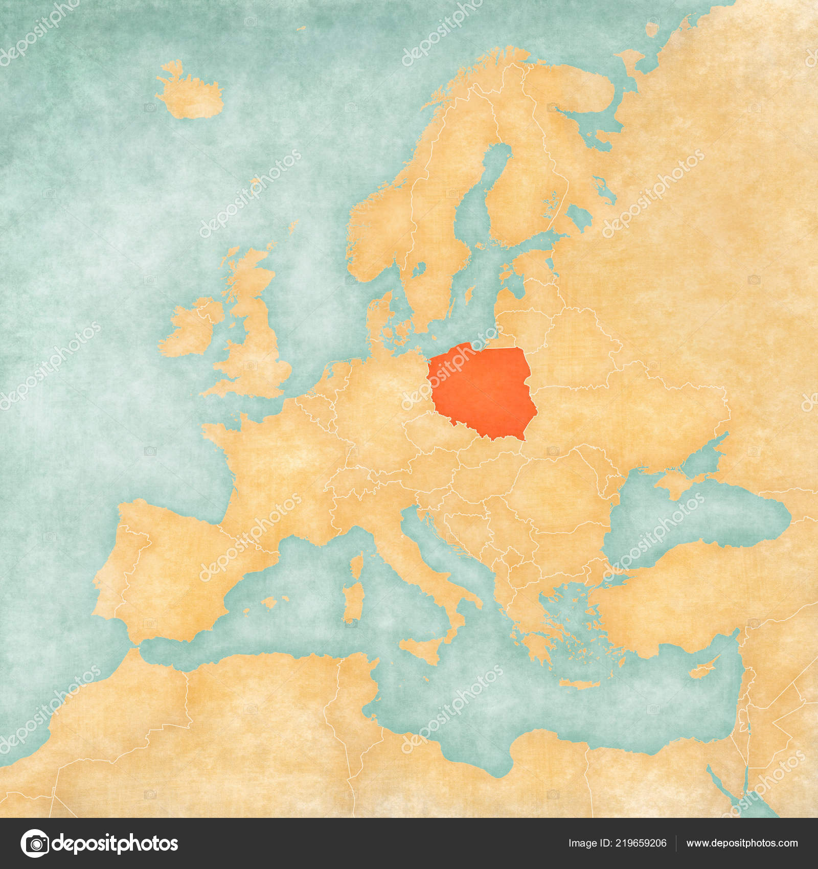 Poland Map Europe Soft Grunge Vintage Style Old Paper Watercolor ...