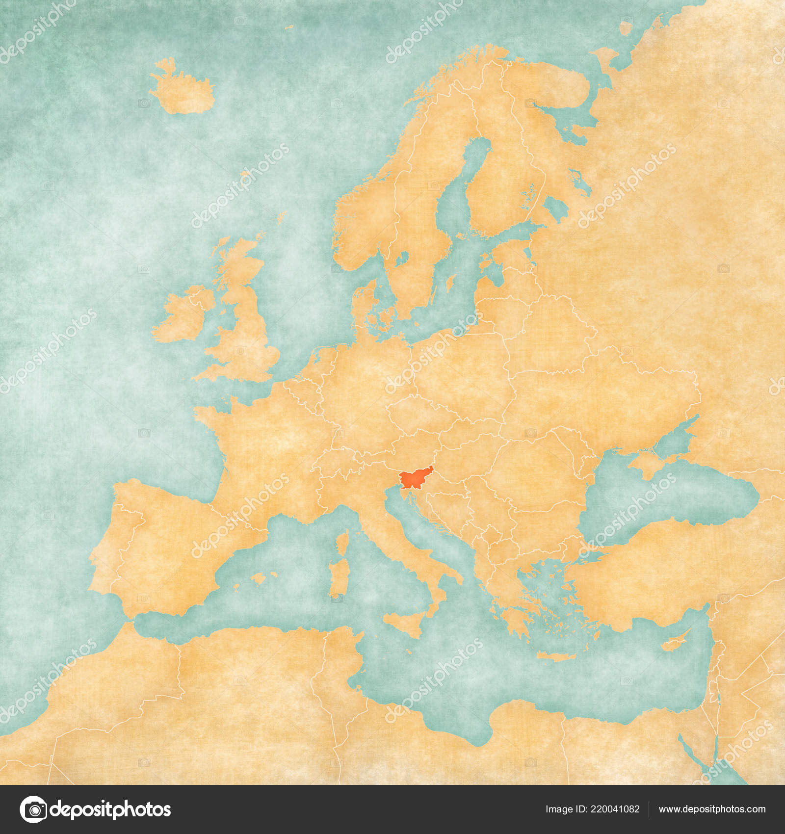 Slovenia Map Europe Soft Grunge Vintage Style Old Paper ...