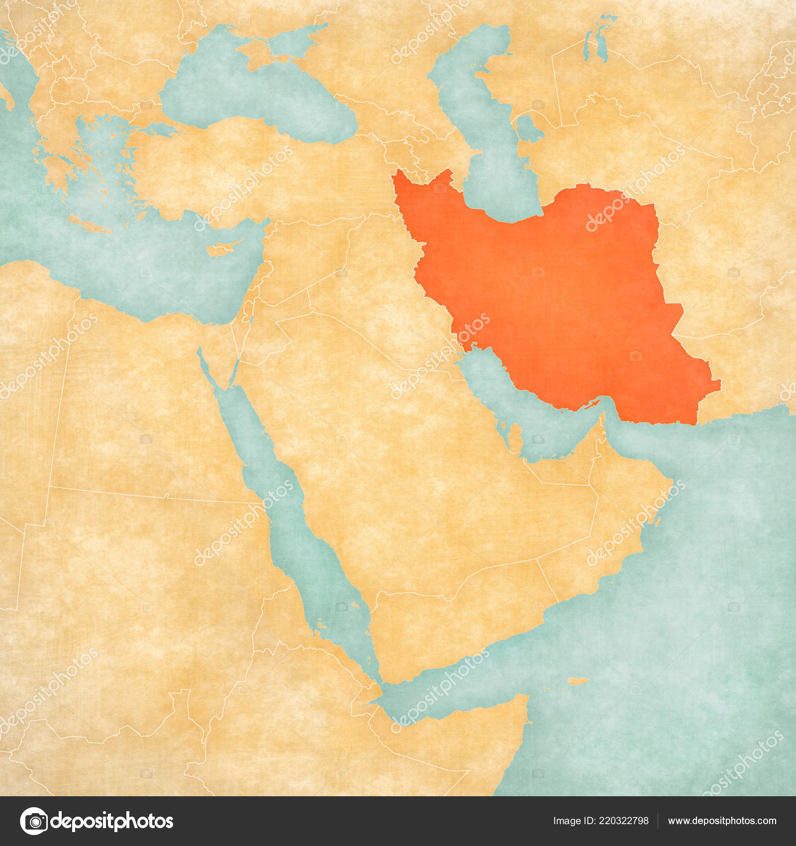 Iran Map Middle East Western Asia Soft Grunge Vintage Style ...