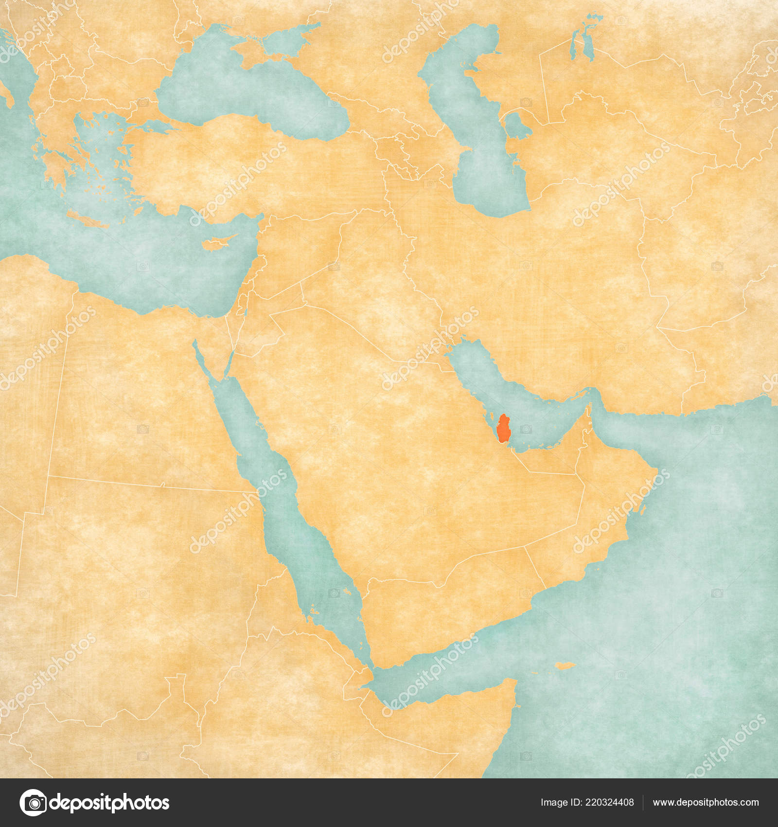 Qatar Map Middle East Western Asia Soft Grunge Vintage Style Stock