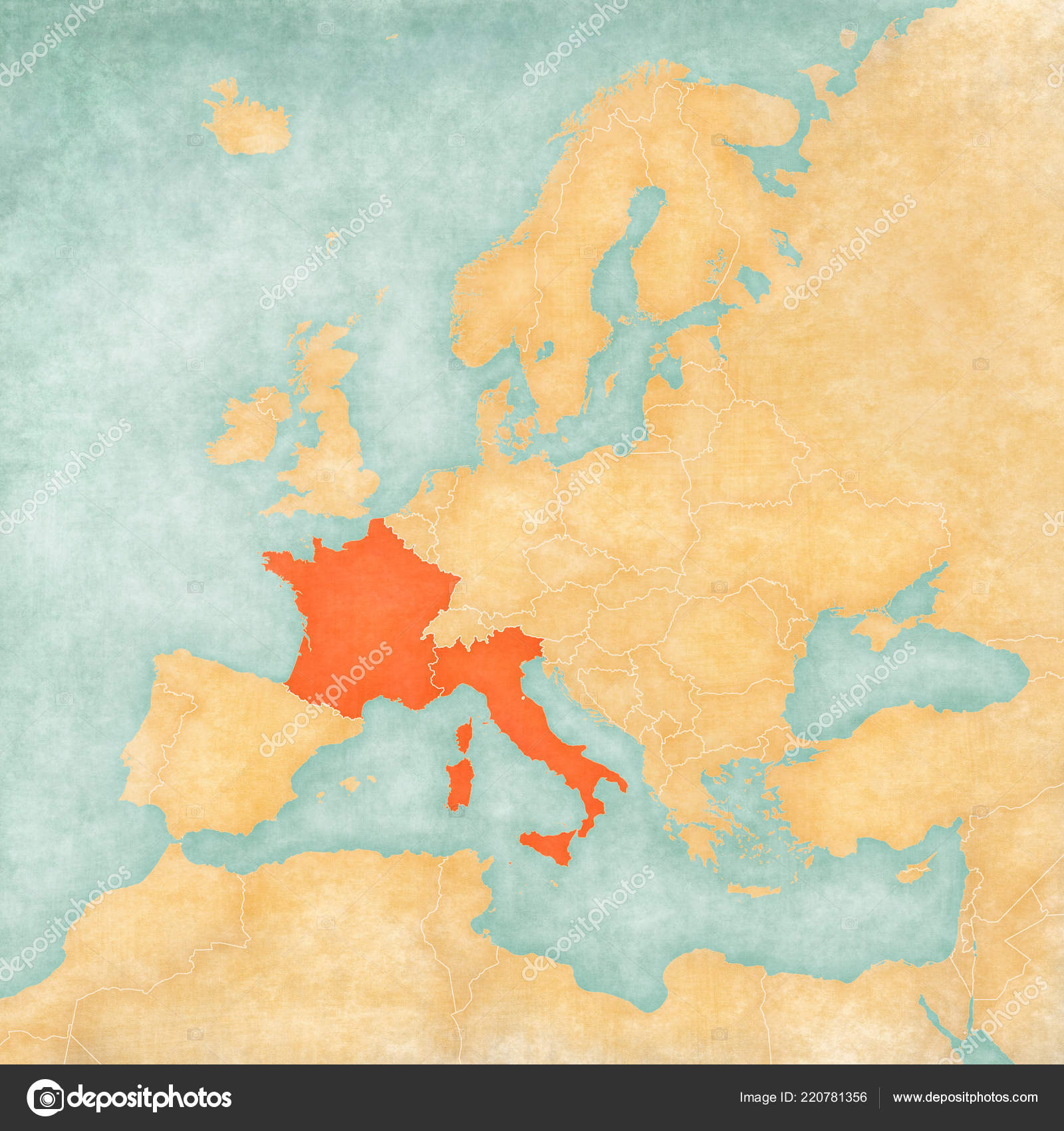 France Italy Map Europe Soft Grunge Vintage Style Old Paper — Stock on