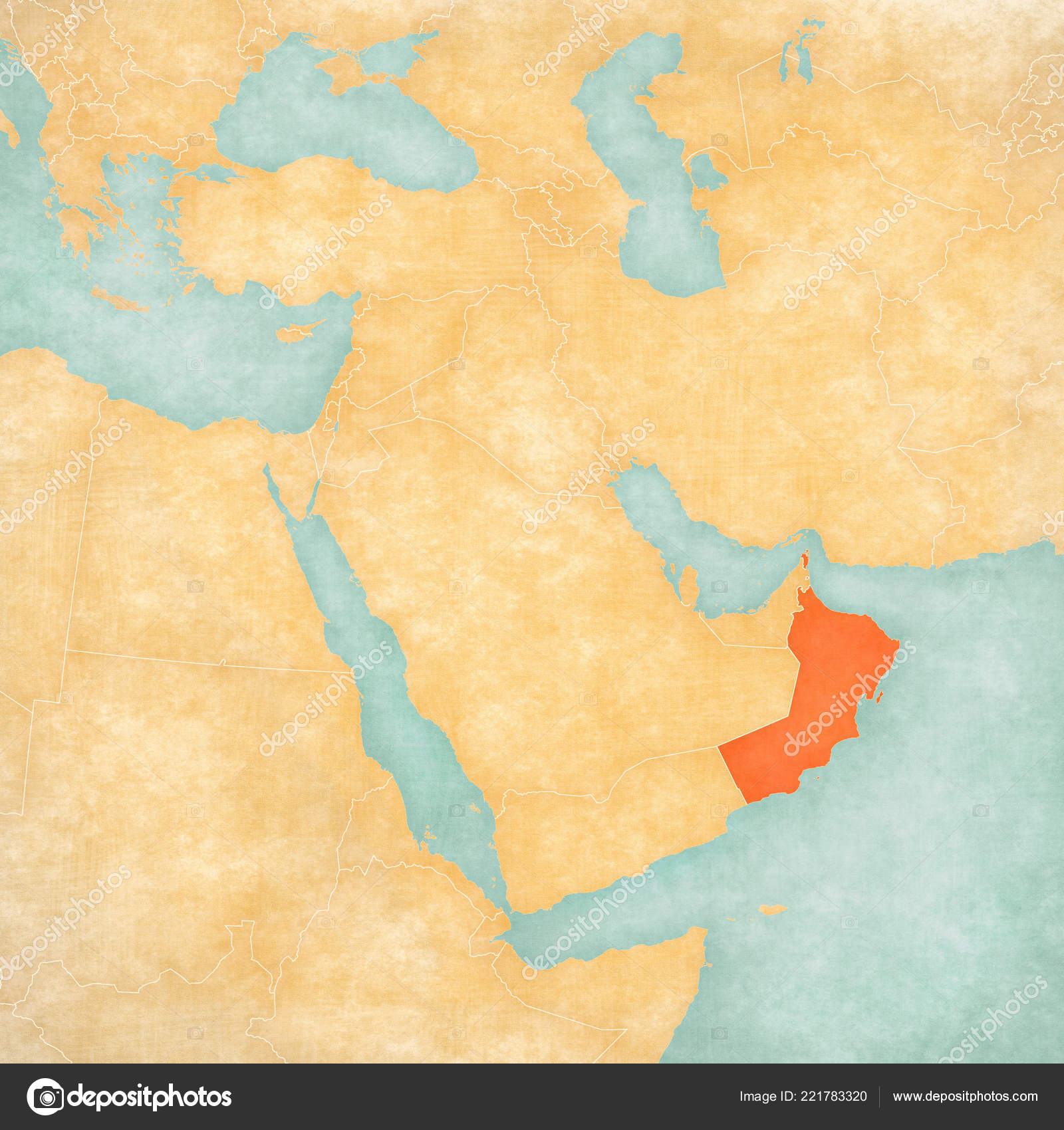Oman Map Middle East Western Asia Soft Grunge Vintage Style ...