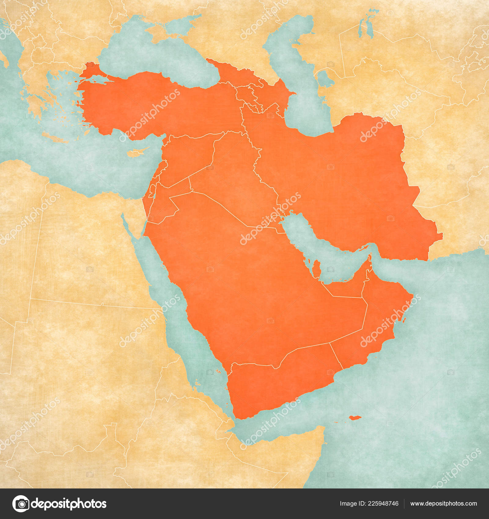 Countries Western Asia Map Soft Grunge Vintage Style Old ...