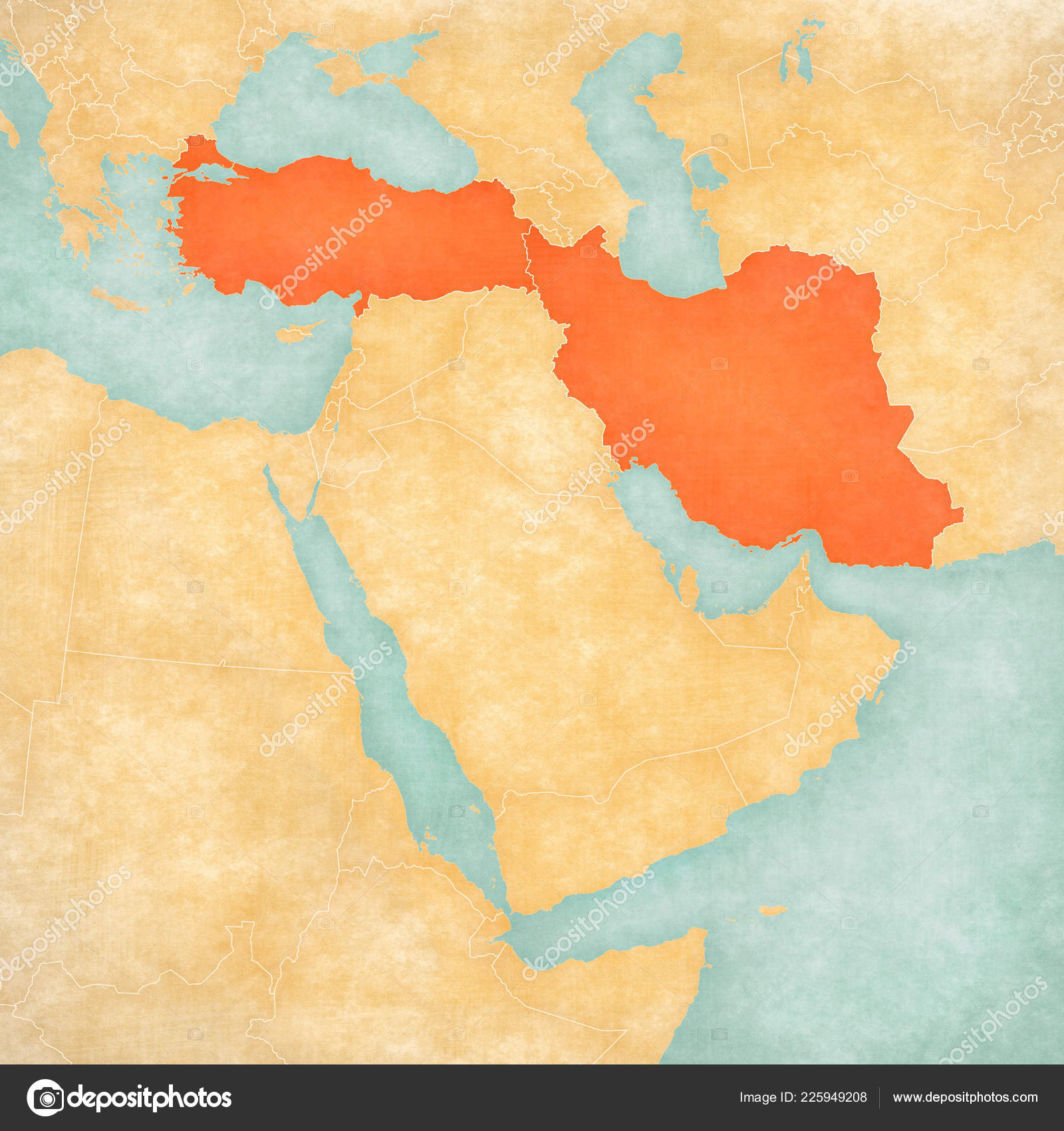 Turkey Iran Map Middle East Western Asia Soft Grunge Vintage ...