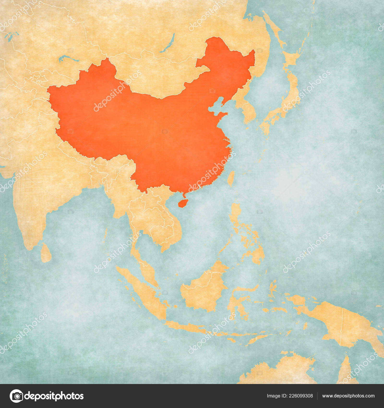 Map Of East And Southeast Asia.China Map East Southeast Asia Soft Grunge Vintage Style Old Stock