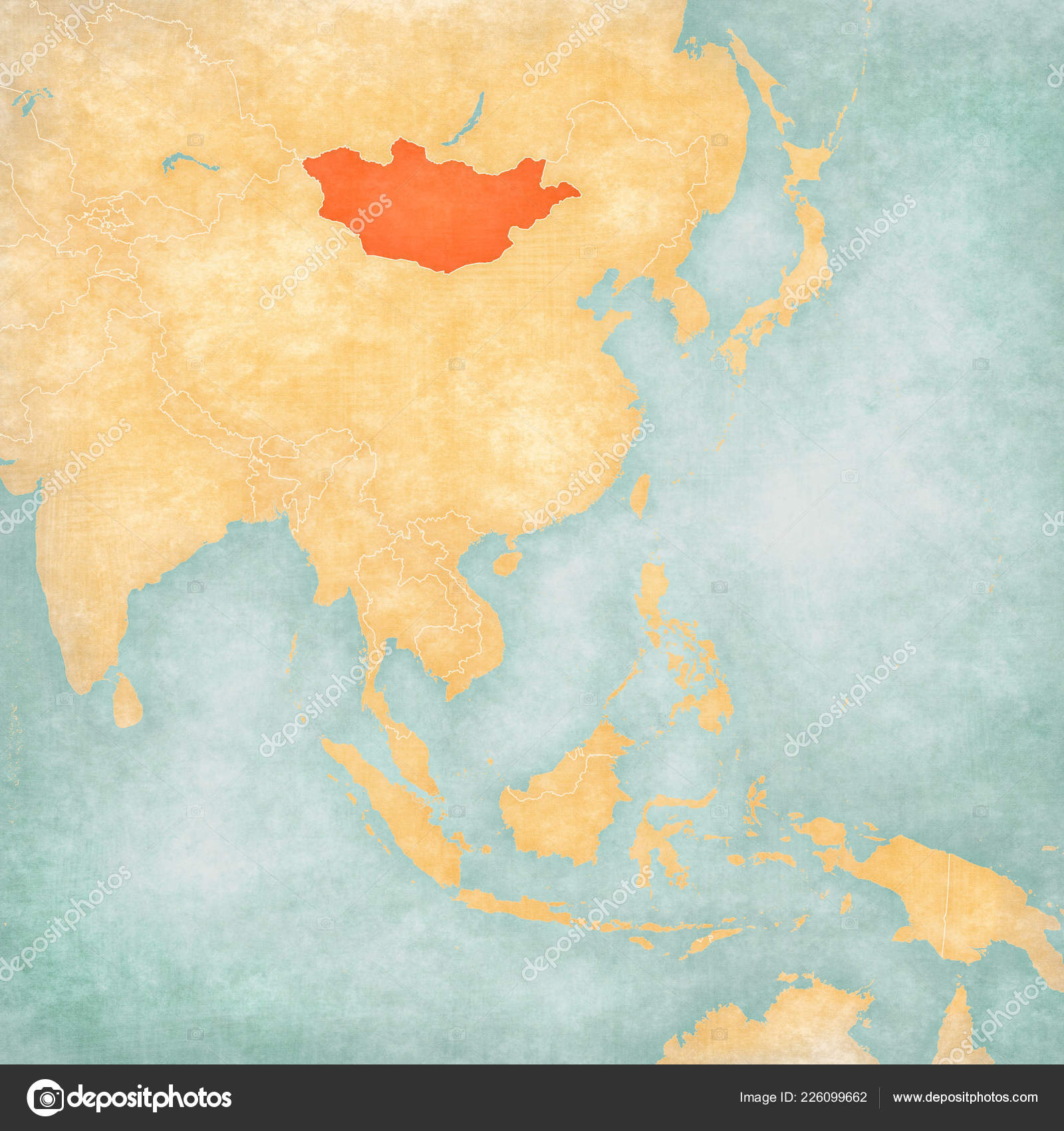 Mongolia Map East Southeast Asia Soft Grunge Vintage Style Old ...