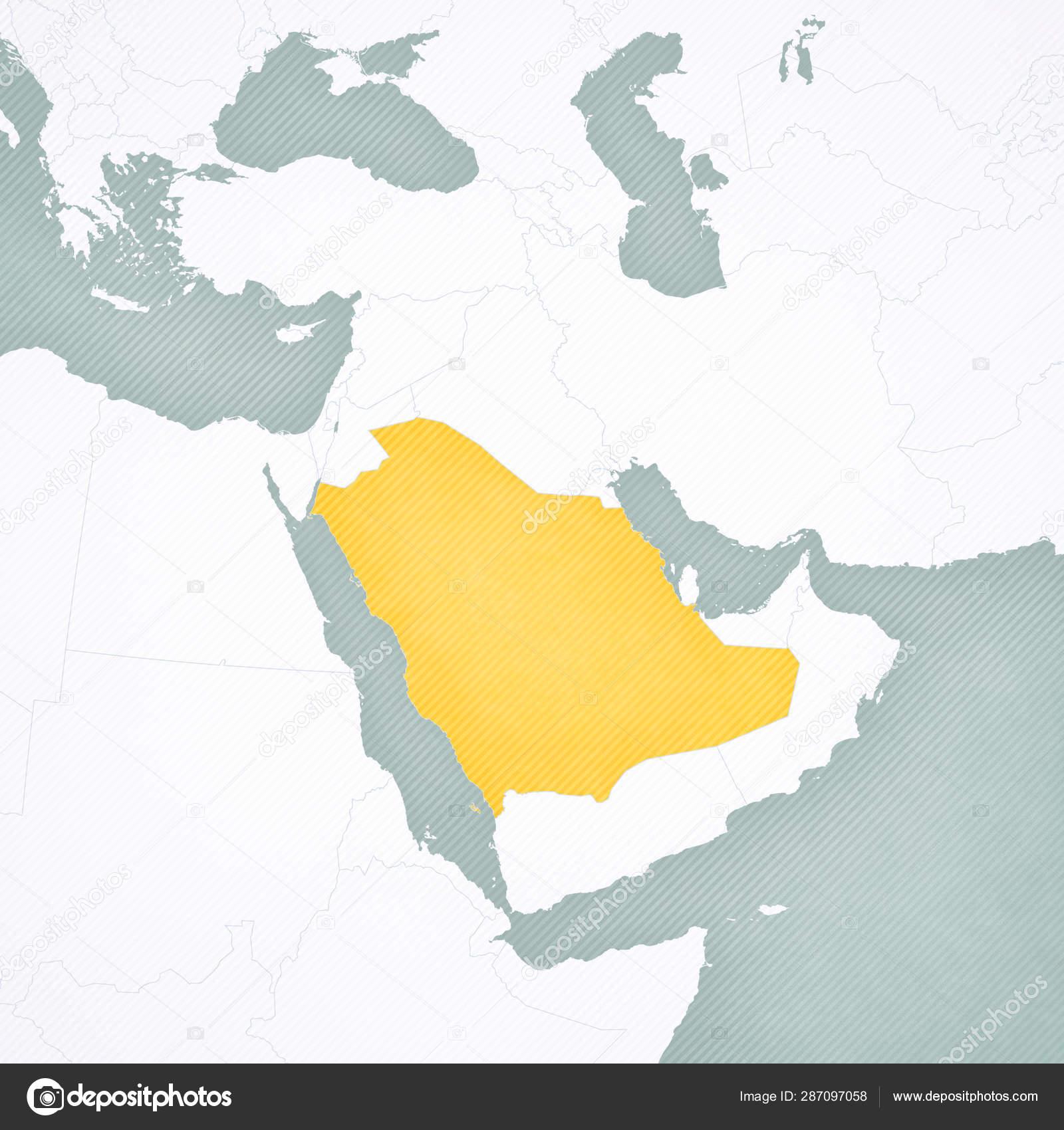 Mapa Z Bliskiego Wschodu Arabia Saudyjska Zdjecie Stockowe