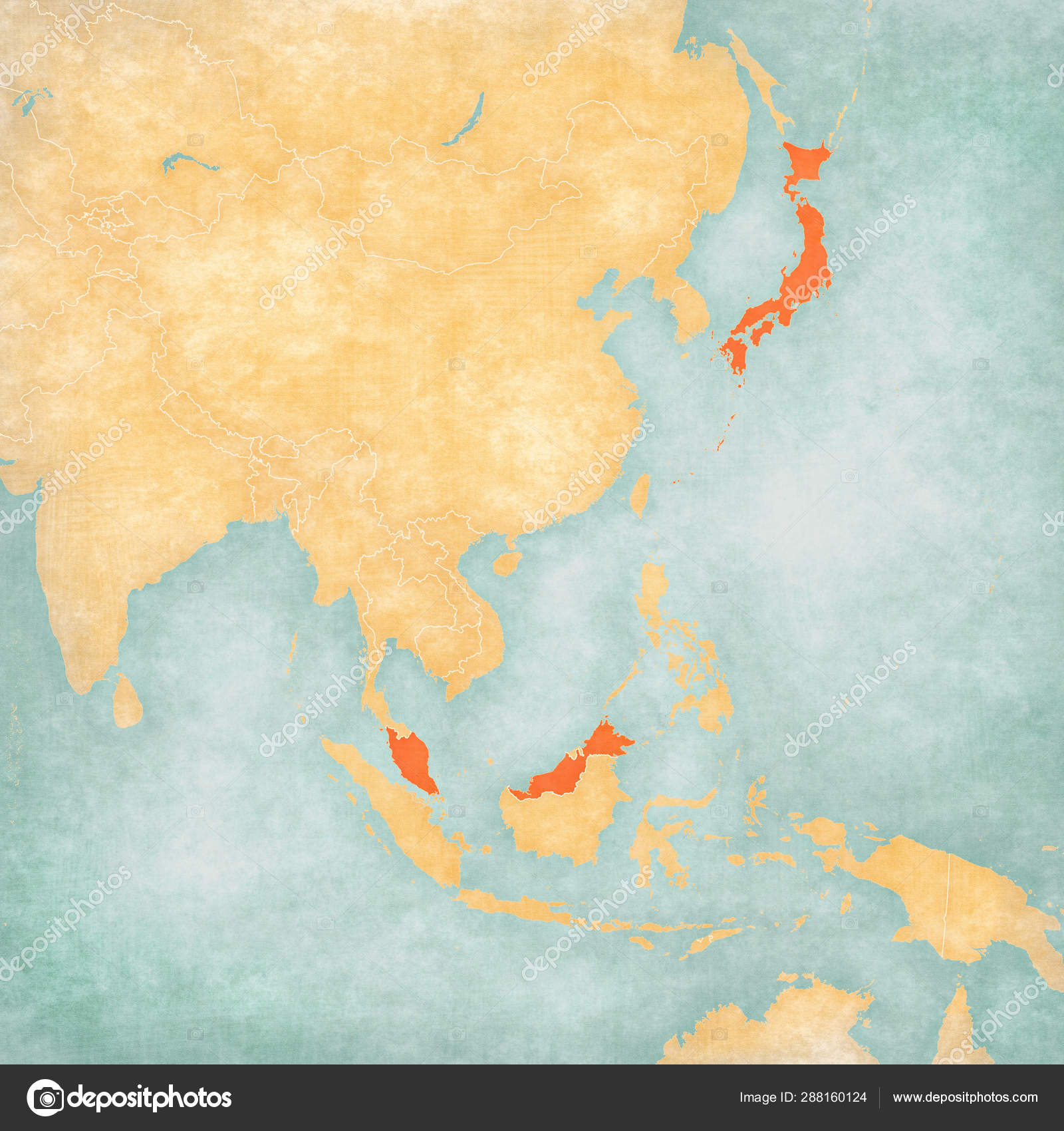 Picture of: Map Of East Asia Japan And Malaysia Stock Photo C Tindo 288160124