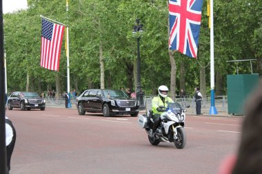 Donald Trump, London, UK, Stock Photo, 3/6/2019 - Donald Trump car convoy  from Buckingham Palace to Westminster Abbey for UK state visit day photograph image picture