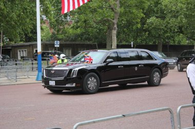 Donald Trump, London, UK, Stock Photo, 3/6/2019 - Donald Trump car convoy  from Clarence House to Buckingham Palace for UK state visit day photograph image picture