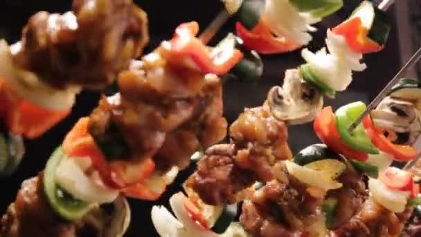 shish donor kebab skewer traditional Turkish greek food cooking turning grilling stock, footage, video, clip, film,
