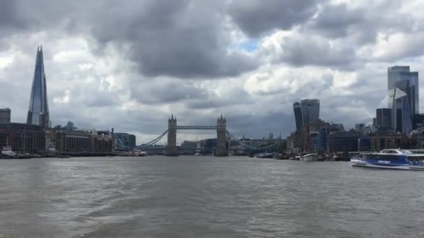 Tower Bridge skyline with Thames river on river, famous London tower bridge landmark and tourist travel attraction - stock footage video