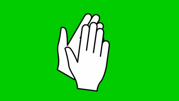 Animated symbol of hands. Hands clap. Icon of applause. Vector flat illustration isolated on green background.